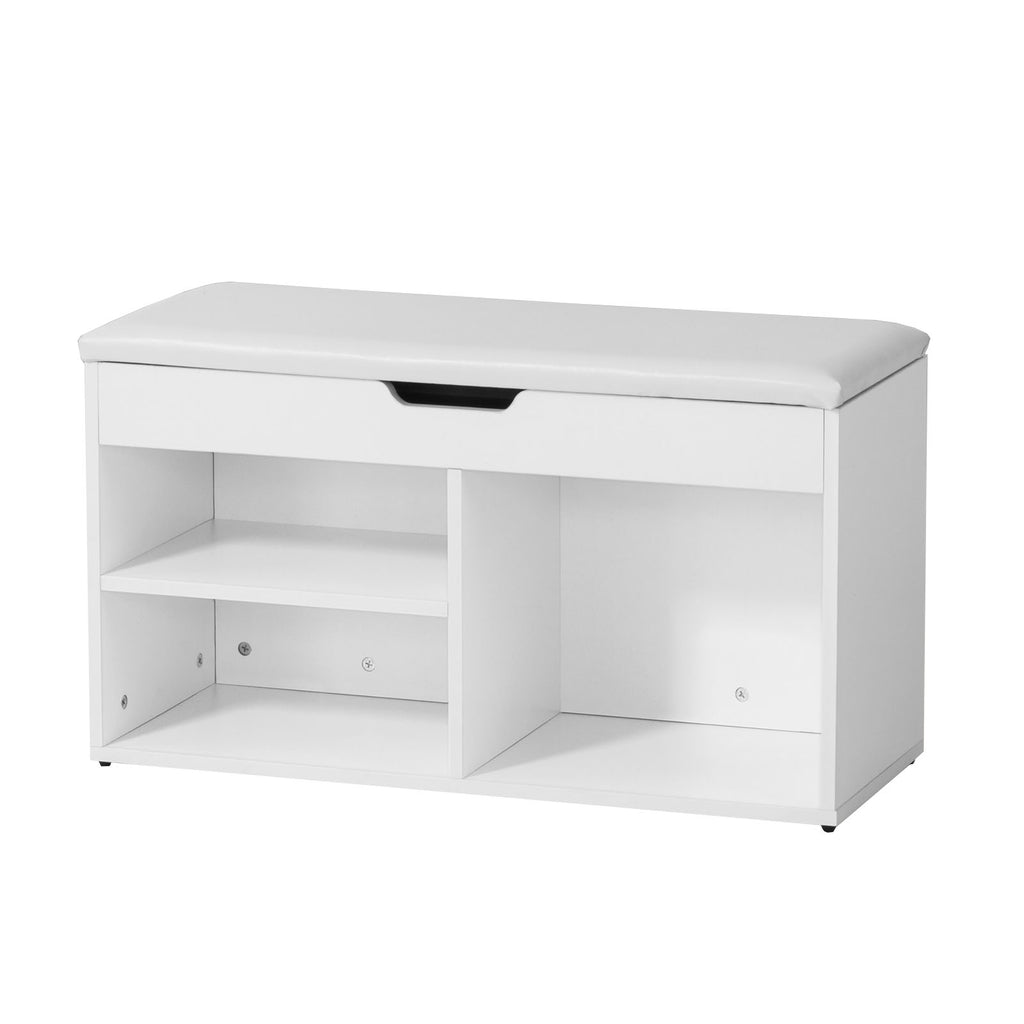 SoBuy Shoe Rack Bench Shoe Rack White With Seat Fsr27-W