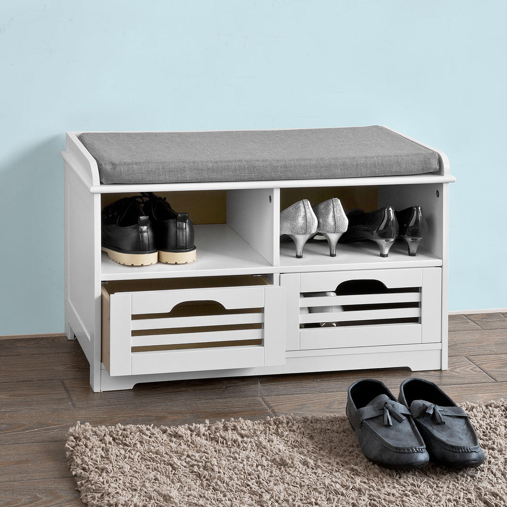 SoBuy Shoe Rack Bench Shoe Rack White With Seat Fsr36-KW