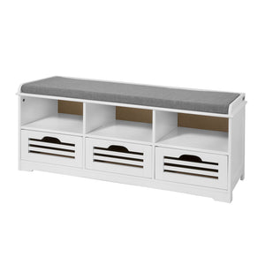 SoBuy Shoe Rack Bench Shoe Rack White With Seat Fsr36-W