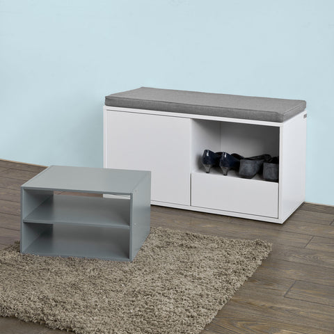 SoBuy Shoe Rack Bench Shoe Rack White With Seat Fsr37-W