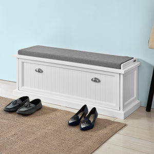 SoBuy Shoe Rack Bench Shoe Rack White With Seat Fsr41-W