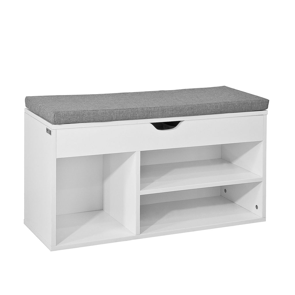 SoBuy Shoe Rack Bench Shoe Rack White With Seat Fsr45-Hg