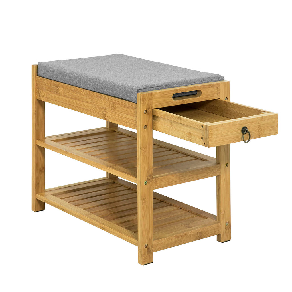 SoBuy Shoe Rack Bench Shoe Rack Wood With Seat Fsr49-N