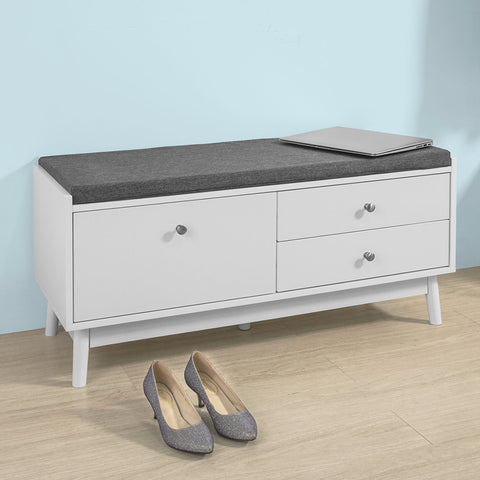 SoBuy Shoe Rack Bench Shoe Rack White With Seat Fsr56-W
