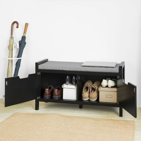 SoBuy Shoe Cabinet Bench Mirror Shoe Cabinet Storage Chest, Black, FSR63-SCH