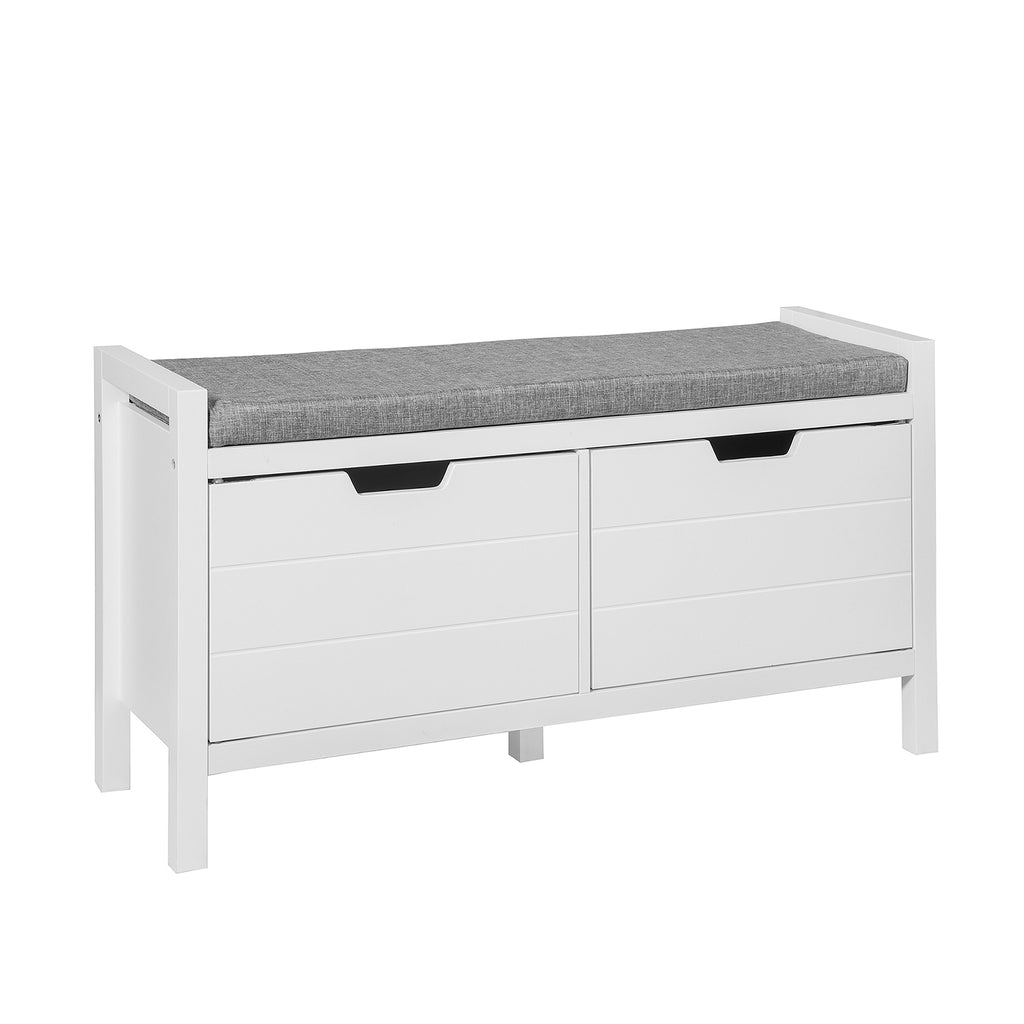 SoBuy Bench Shoe Cabinet Storage Chest White Bath Cabinet FSR63-W