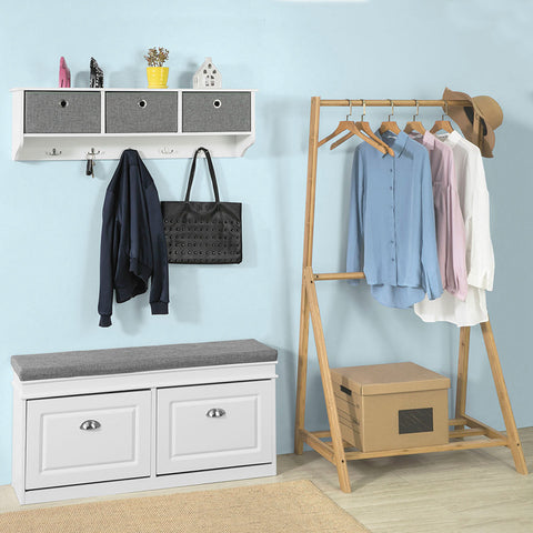 SoBuy Slim space-saving shoe rack, Adjustable space-saving shoe rack, W104 * D24 * H52 cm, White, FSR64-W