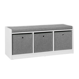 SoBuy Shoe cabinet bench Indoor bathroom cabinet with 3 baskets White and Gray W102 * D32 * H45cm FSR65-DG