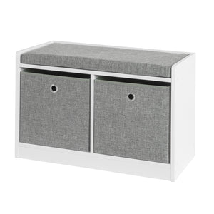SoBuy Shoe rack bench Indoor bathroom cabinet with 2 baskets White and Gray W68 * D32 * H45cm FSR65-K-DG