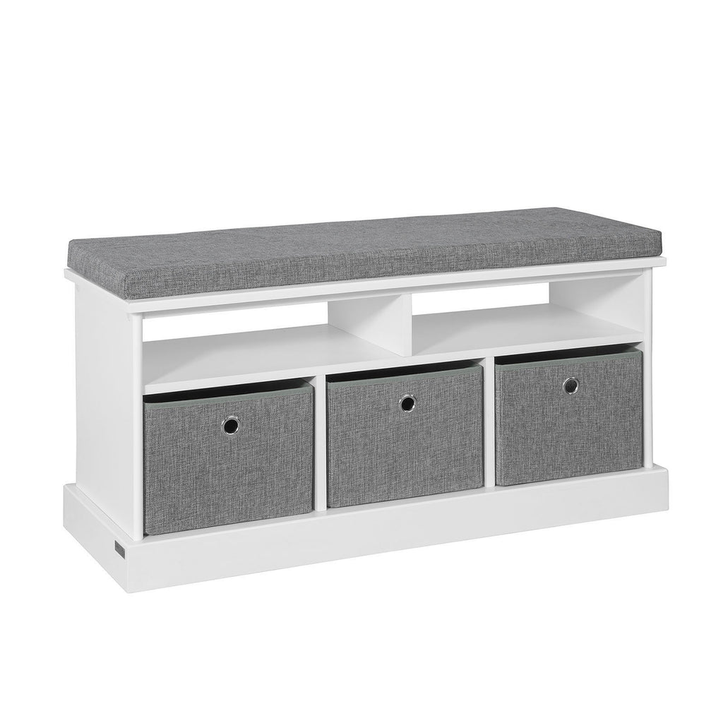 SoBuy Bench Shoe Cabinet Storage Chest White Bath Cabinet FSR67-HG