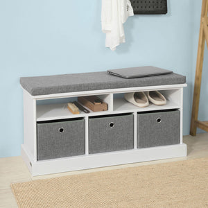 SoBuy Shoe cabinet bench Indoor bathroom cabinet White FSR67-HG