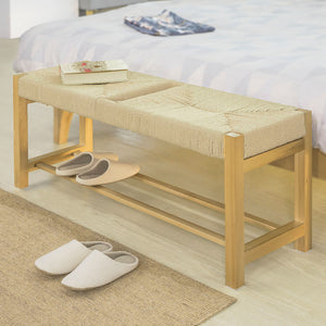 SoBuy Wood Bench Indoor Bench Dining Stool Seat in Hemp Rope FSR68-N