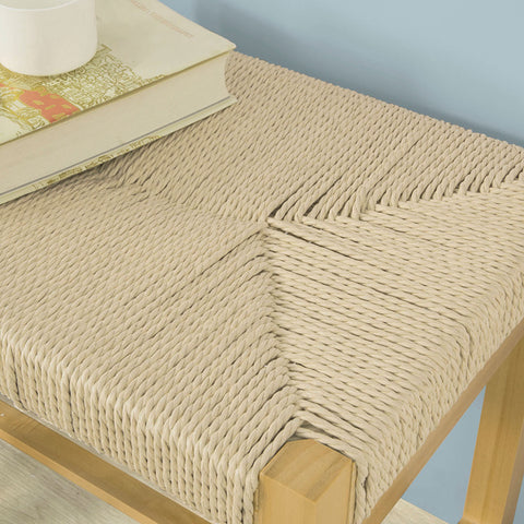 SoBuy Wood Bench Indoor Bench Dining Stool Seat in Hemp Rope FSR69-N