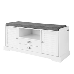 SoBuy Shoe rack Bench Indoor Bathroom Cabinet with 2 Doors and 2 drawers White L98 * P33 * H49cm FSR71-W