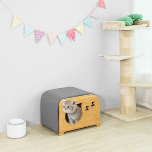 SoBuy Wooden Chest with Cat Beds or Indoor Dogs and Cushion, Maximum Load: 120 kg FSR72-N