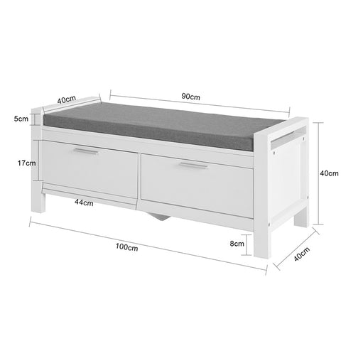 SoBuy White Chest Container Bedroom Bench Seat with Pillow 2 drawers with White Guides L100 * P40 * H40cm FSR74-W