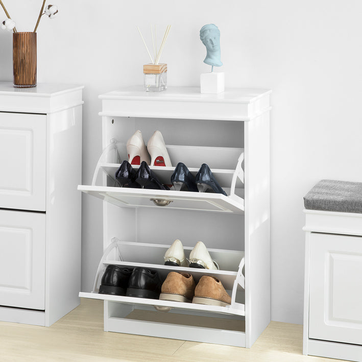 SoBuy Slim space-saving shoe rack, Adjustable space-saving shoe rack, White, FSR78-W