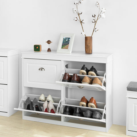 SoBuy Slim space-saving shoe rack, Adjustable space-saving shoe rack, White, FSR79-W