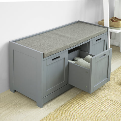 SoBuy Entrance Shoe Rack with drawer and 2 chest lockers Bedroom Maximum load 120 kg 90x45x35cm Gray FSR80-SG