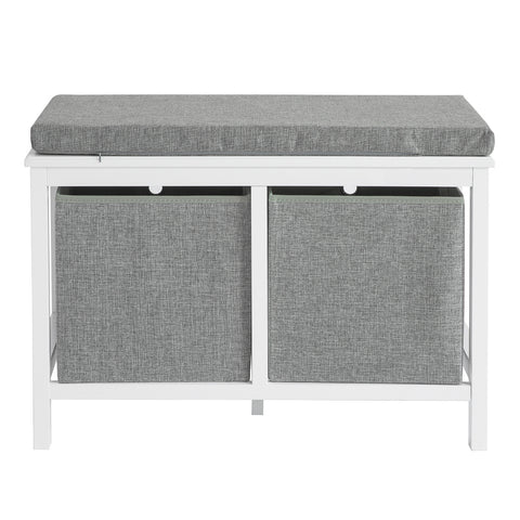 SoBuy Shoe Cabinet Bench Indoor Storage Chest Bathroom Cabinet with 2 Baskets White and Grey L70 * W30 * H50cm FSR81-HG