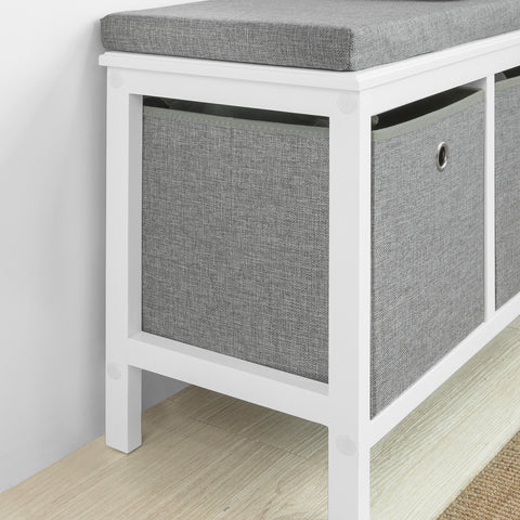 SoBuy Shoe rack Bench Indoor Bathroom Cabinet with 2 baskets White and Gray W70 * D30 * H50cm FSR81-HG
