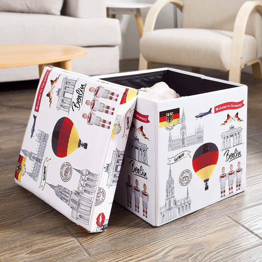 SoBuy Pouf, cube, Trunk, Laundry basket, Germany, FSS41-K-DE
