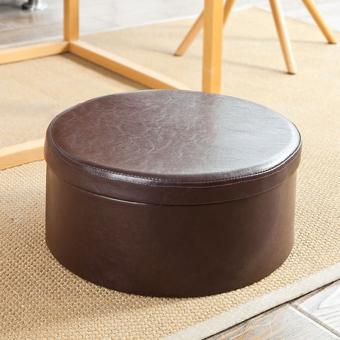 SoBuy Pouf Container, Ottoman and footrest, Bench, round, FSS67-BR