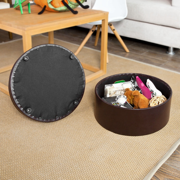 SoBuy Storage Pouf, Ottoman and footrest, Bench, round, FSS67-BR