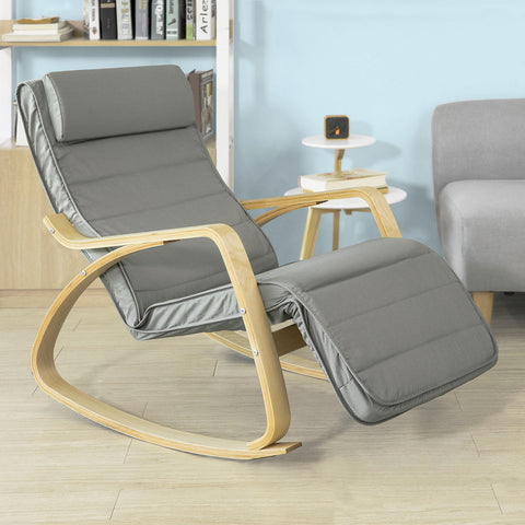 SoBuy Rocking Chair Relax Armchair Armchair Leg Rest Adjustable gray FST16-DG