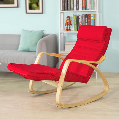 SoBuy Rocking Chair Relax Armchair Red Armrest Adjustable Leg Rest Fst16-R