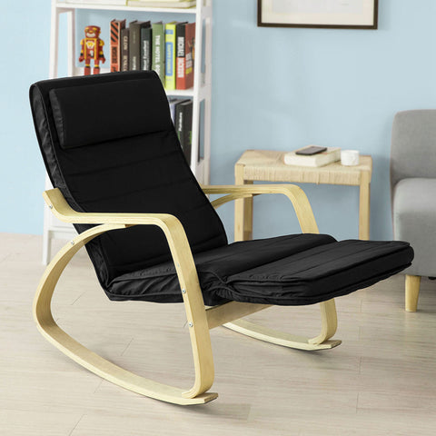 SoBuy Rocking Chair Relax Armchair Black Armrest Adjustable Leg Rest Fst16-Sch