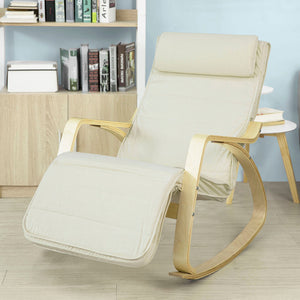 SoBuy Rocking Chair Relax Armchair White Armrest Adjustable Leg Rest Fst16-W