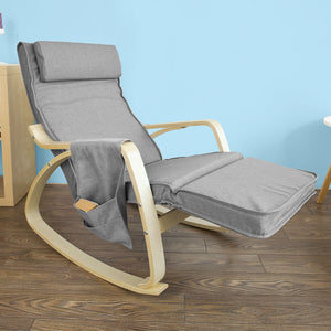 SoBuy Rocking Chair Relax Armchair Gray Armrest Adjustable Leg Rest Fst18-Dg