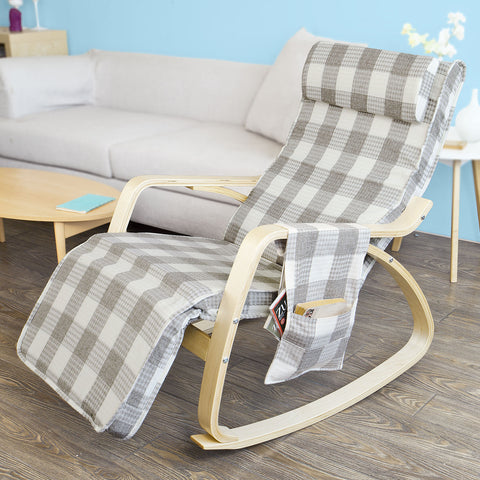 SoBuy Rocking Chair Relax Armchair Gray Armchair Adjustable Leg Rest Fst18-KR