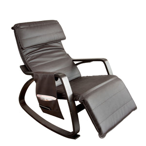 SoBuy Rocking Chair Relax Armchair Brown Armchair Adjustable Leg Rest Fst20-Br