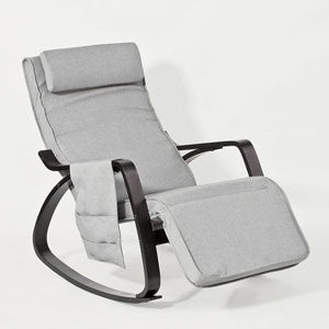SoBuy Rocking Chair Relax Armchair Gray Armrest Adjustable Leg Rest Fst20-Hg