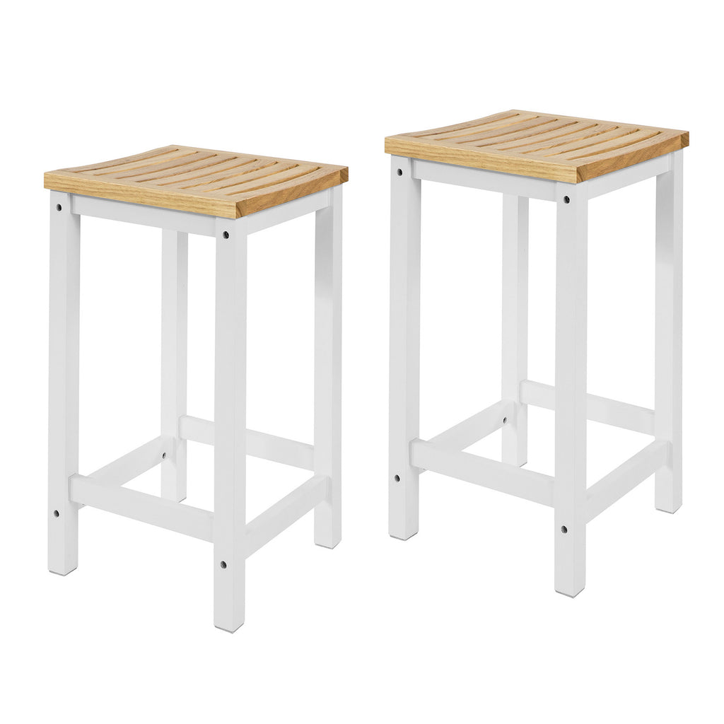 SoBuy Set 2 Stools for Modern Kitchen Stools White solid wood Height 61 cm, Max capacity 100 kg FST29-WNX2