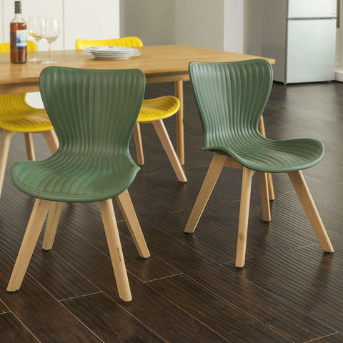 SoBuy Dining Chairs Desk Chairs Green Kitchen Chairs 2 Pieces Fst62-Grx2