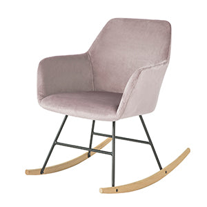 SoBuy Rocking Chair Relax Design Armchair Maximum Load: 150 kg in Velvet, Iron Legs and Solid Beech Wood Pink FST68-P