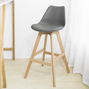 SoBuy Bar stool High kitchen stool High bar chair Seat height: 72 cm Solid gray beech wood legs FST69-HG