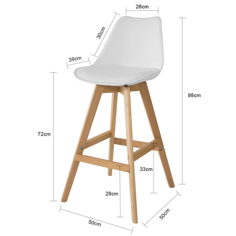SoBuy Bar stool High kitchen stool High bar chair Seat height: 72 cm Solid white beech wood legs FST69-W