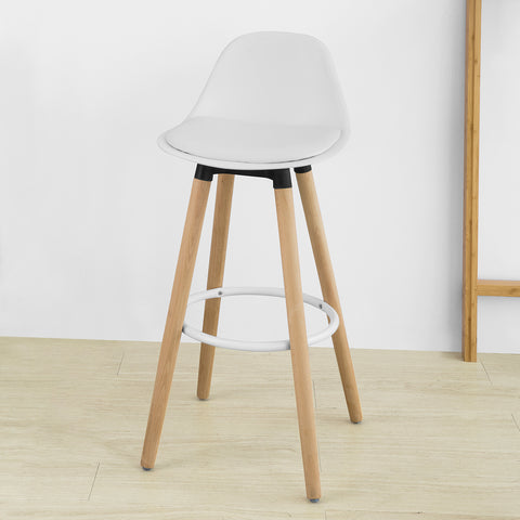 SoBuy Bar Stool High Kitchen Stool High Bar Chair Καρέκλα Ύψος καθίσματος: 70 cm Solid Beech Wood Legs White FST70-W
