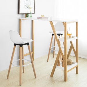 SoBuy Bar Stool High Kitchen Stool High Bar Chair Seat Height: 70 cm Solid beech wood legs White FST70-W