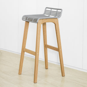 SoBuy Modern Kitchen Stools High Bar Stools Bar Chairs Wood Stool, Gray, FST76-HG
