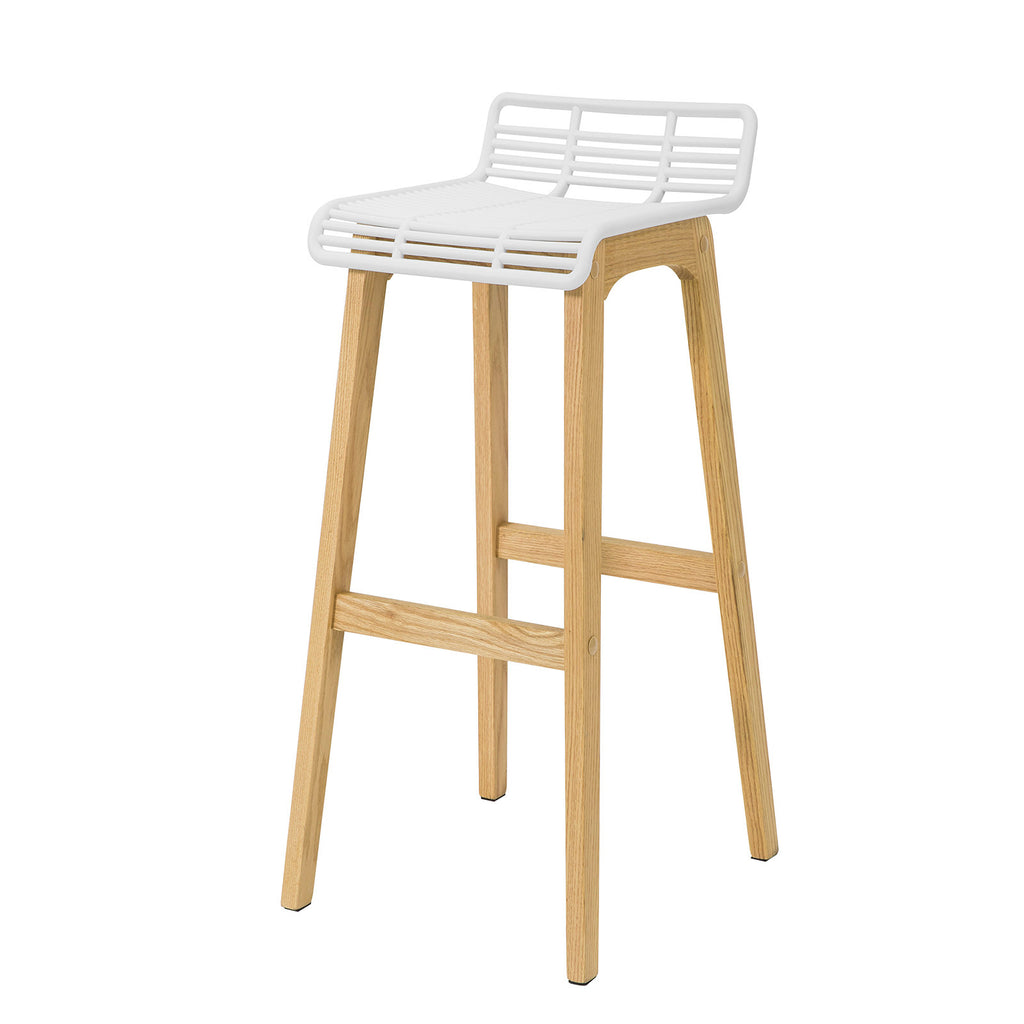 SoBuy Modern Kitchen Stools High Bar Stools Bar Chairs Wood Stool, White, FST76-W