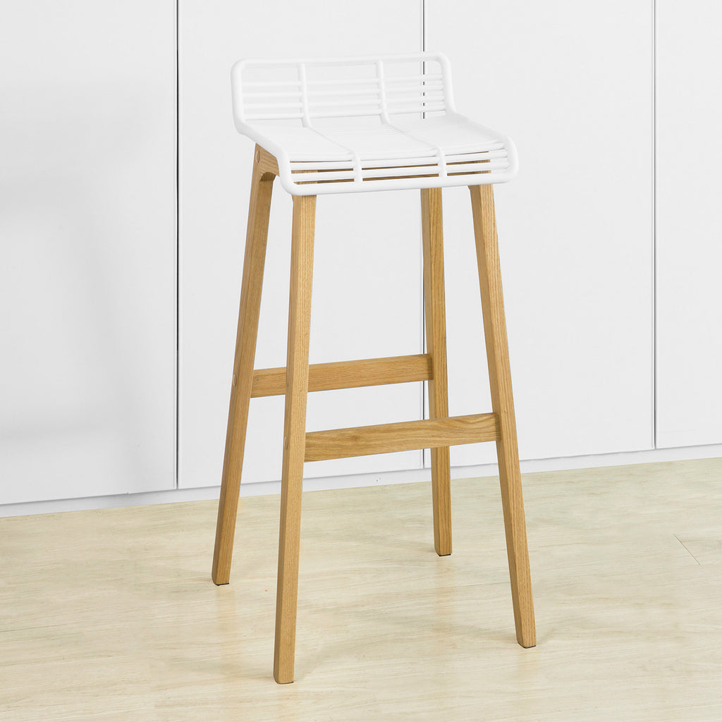 SoBuy Modern Kitchen Stools High Bar Stools Bar Bar Chairs Ξύλινο Σκαμπό, Λευκό, FST76-W