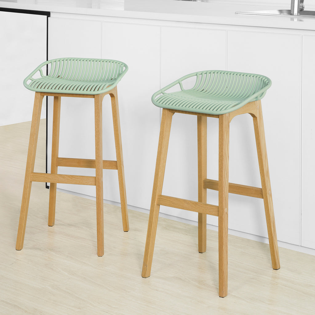 SoBuy Modern Kitchen Stools High Bar Stool Wood Stool, Green, FST77-GR