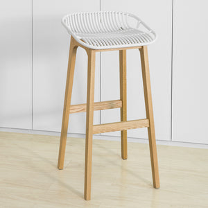 SoBuy Modern Kitchen Stools High Bar Stool Wood Stool, White, FST77-W