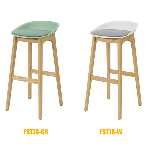 SoBuy Modern Kitchen Stools Bar Chairs Wood Stool, White, FST78-W