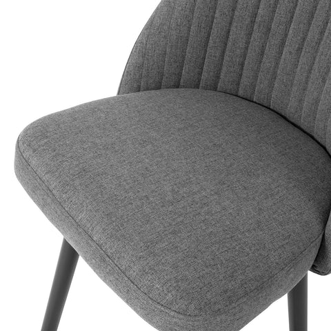 SoBuy Set of 2 Kitchen Chairs Dining Chairs Nordic Style Desk Chair Linen Back, Gray, FST84-HGx2